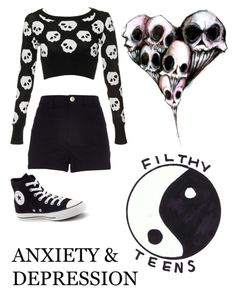 """Anxiety and Depression..."" by emo-kyleigh ❤ liked on Polyvore featuring River Island and Converse"