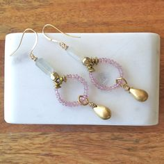 Beaded Pink Sapphire Dangle Earrings- Laura James Jewelry – Laura James Jewelry