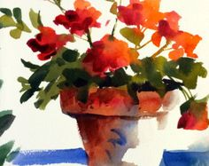 Pintura de acuarela Original flores de geranios por Pat Weaver