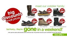 For one weekend only there are massive discounts on 6 of the most popular styles! Grab a real bargain in time for Christmas – hurry though as this promotion must end 25/11/2012!    Choose the: http://www.moje-obchody.cz/product/crocs-global-brand-footwear-1513/