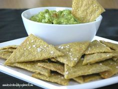 #paleo Grain- and Corn-free Plantain Tortilla Chips: 3 unripe (green) plantains, peeled*; 2 tbsp refined coconut oil; 1/2 tsp sea salt; coarse sea salt to sprinkle on top