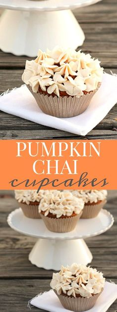 Pumpkin Chai Cupcakes with Chai Spiced Buttercream Frosting. A small batch of pumpkin cupcakes made with 1/2 cup of leftover pumpkin puree from the can.