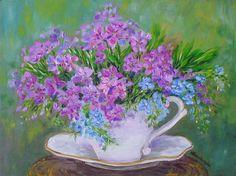Kwiatki w filiżance - olej - Maria Roszkowska