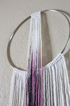 Modern Bohemian Double Hoop Dreamcatcher Macrame Bedroom Decor  Dip-dyed ombre with black and fuscia. One of a kind item.  Vegan: No animal or animal bi-products are used.