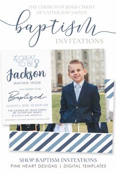 Send a custom baptism invitation to friends a family to announce your son's baptism day! This customizable baptism invitation will highlight your son's special baptism portraits. Photos and text can be added in minutes by you! Easily edit in your web browser, no software needed!  Click through to demo the design now! #baptisminvitation #LDSbaptism #baptisminvitationboy #LDSinvitation #LDSbaptisminvitation #baptismtemplate Safari Invitations, Baptism Invitations, Birthday Invitations, Baptism Announcement, Baptism Program, Jungle Theme Parties, Boy Baptism, Latter Day Saints, Lds