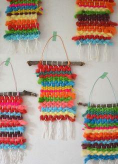Kids dye their own chunky wool yarn with Koolaid, then make small weaving on cardboard looms. Kids dye their own chunky wool yarn with Koolaid, then make happy little weavings on cardboard looms. Weaving For Kids, Weaving Art, Hand Weaving, Diy Crafts For Kids, Art For Kids, Arts And Crafts, Kid Art, Yarn Crafts Kids, Wood Crafts