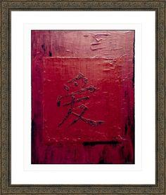 love in kanji calligraphy, by  fractal mandala art