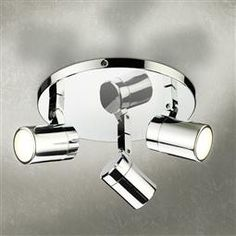 The stylish Trilogy LED spotlight from HiB features 3 multi-angled lights which are mounted to a chrome circular base. Safe for bathroom installations. Shower Lighting, Modern Bathroom Lighting, Mirror With Shelf, Mirror With Lights, Contemporary Bathroom Inspiration, Bathroom Showrooms, Shower Taps, Simple Bathroom, Bathroom Ideas