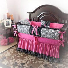 Designer Custom Made Damask Hot Pink - Julia 5pc Crib Bedding Set