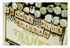 Love the use of Scrabble tiles in the wedding decorations