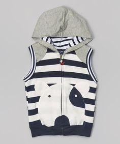 Look at this #zulilyfind! Navy & Gray Stripe Dog Hooded Vest - Toddler & Kids #zulilyfinds