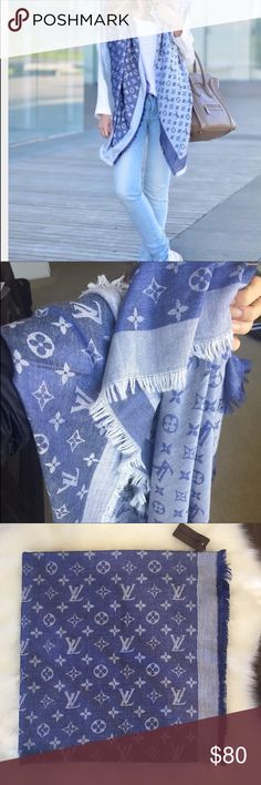 "LV blue scarf New with tags blue and white scarf. Measurements 56""x56"". Gorgeous color. Great for an elegant casual outfit Louis Vuitton Accessories Scarves & Wraps"