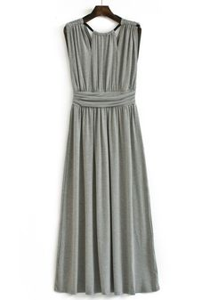 Grey Pleated Zipper V-neck Sleeveless Cotton Blend Dress
