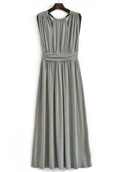 Grey Pleated Zipper V-neck Sleeveless Cotton Blend Dress