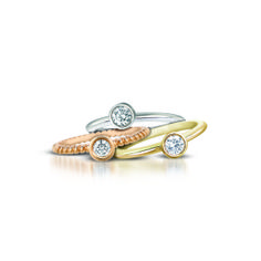 Mini Stackable Rings in 18K Yellow, White, and Rose Gold. Adorable and original...subtle yet sexy!