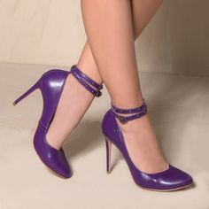 Purple shoes with a strap