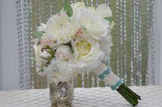 Bridal Bouquet and FREE Boutonniere Ivory Mint by jcmArtandDesign