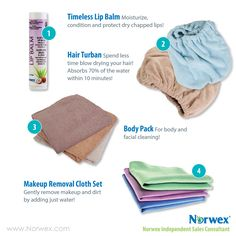 Norwex Turban now have two color options. * Use for drying hair * Highly absorbent hooded towel * Can absorb 70% of moisture reducing blow-drying time * Fewer tangles in hair * Comfortably holds rollers in at night * Great for people with long or thick hair * Less blow-drying means healthier hair
