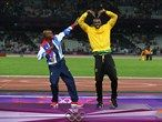 Mo Farah and Usian Bolt swap celebratory moves