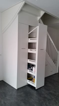 Staircase Storage, Stair Storage, Built In Storage, Space Under Stairs, Open Stairs, Sloped Ceiling Bathroom, Küchen Design, House Design, Attic Bedroom Storage