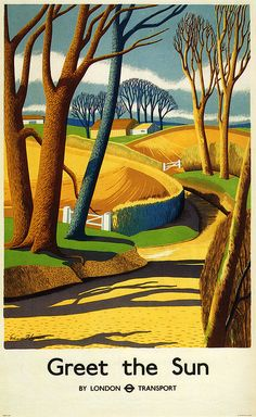 Greet the sun - vintage London Transport travel poster by Edward Purser Lancaster (1939)