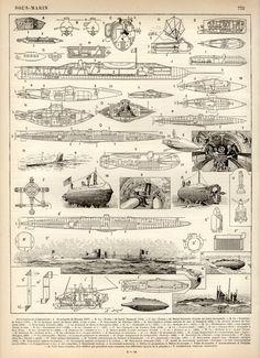 1897 Submarine Designs Antique Print Vintage by Craftissimo