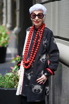 Iris Apfel - is there anyone else on the planet who could pull this off? I mean the beads