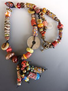Assorted Tribal Beads with Asymmetrical Trade Bead by tamajesyroar, $110.00