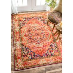 Overstock.com | nuLOOM Traditional Flower Medallion Orange Rug (5'3 x 7'7) | $152