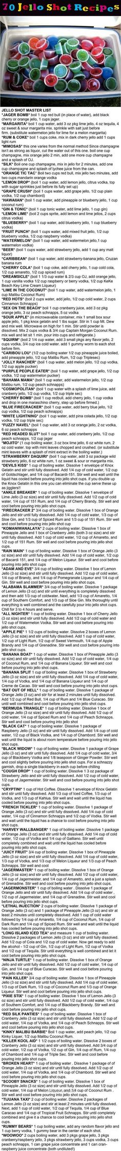 70 Jello Shot Recipes 70 Jello Shot Recipes Pictures, Photos, and Images for Facebook, Tumblr, Pinterest, and Twitter: http://www.foodanddrink.space/2017/06/01/70-jello-shot-recipes/