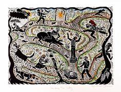 Seeking the way lino cut, by Jay Luttman johnson Devon And Cornwall, North Devon, Outsider Art, Small Groups, Printmaking, Gallery, Maps, Artist, Prints