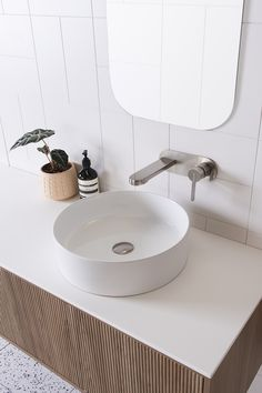 Gloss white round counter basin with brushed nickel tap and v-groove bathroom cabinetry Bathroom Cabinetry, Basins, Downstairs Bathroom, Modern Interiors, Brushed Nickel, Counter, Architecture Design, Architecture Layout, Bath