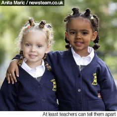 TWINS - Marcia (left) and Millie Biggs, born to Amanda who is fair complexion and Michael who is Jamaican origin.