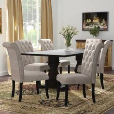 New Coyer 7 Piece Solid Wood Dining Set kitchen dining furniture sale. offers on top store Kitchen Dining Sets, Counter Height Dining Sets, Dining Room Sets, Small Dining, Dinning Table, Kitchen Ideas, Kitchen Decor, Solid Wood Table Tops, Solid Wood Dining Set