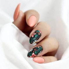 Nail art is a very popular trend these days and every woman you meet seems to have beautiful nails. It used to be that women would just go get a manicure or pedicure to get their nails trimmed and shaped with just a few coats of plain nail polish. Gorgeous Nails, Pretty Nails, Tropical Nail Art, Tropical Nail Designs, Cute Summer Nail Designs, Floral Nail Art, Nagel Gel, Nail Decorations, Flower Nails