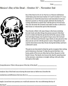 Worksheets Day Of The Dead Worksheets dia de los muertos history autumn fall and day of the dead or skull art lesson symmetry oct
