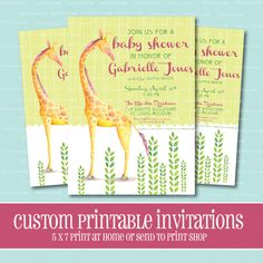 Custom BABY SHOWER Invitation Giraffe Baby by ThePeachandPineapple