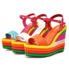 regenboog kleur sandalen