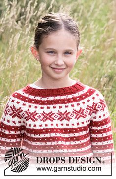 Knitted sweater for kids with Nordic Fana pattern in DROPS Karisma or DROPS Lima. Piece is knitted top down. Cable Knitting Patterns, Knit Patterns, Free Knitting, Baby Knitting, Drops Design, Drops Karisma, Crochet Diagram, Work Tops, Yarns