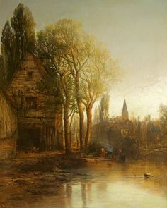 """centuriespast: """" A House by a Pool, with a Distant Spire James Webb (1835–1895) National Trust, Philipps House, Dinton """""""