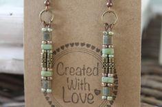Earrings long beaded boho earrings by homemadewithpleasure on Etsy