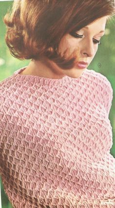 retro, damestrui, gratis, breipatroon, makkelijk Crochet Cape, Crochet Shawl, Hand Crochet, Knit Crochet, Beginner Knitting Patterns, Knitting Stitches, Free Knitting, Crochet Humor, Crochet Food