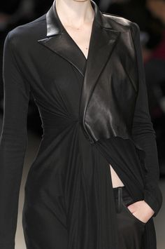 Deconstructed coat with leather lapels, all black fashion details // Yohji Yamamoto Fall 2008