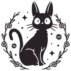 Jiji Sticker by Liam Ashurst - White Background - Studio Ghibli Art, Studio Ghibli Movies, Ghibli Tattoo, Anime Tattoos, Animes Wallpapers, Cute Tattoos, Hayao Miyazaki, Art Inspo, Line Art
