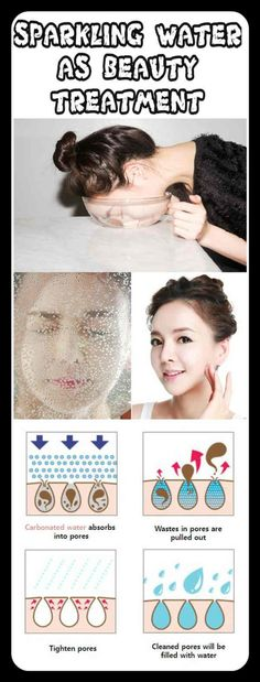 Washing your face with carbonated or sparkling water as a treatment