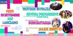 Lanciano Feste di Settembre 2017 con Alex Britti Dodi Battaglia e UT News Trolls