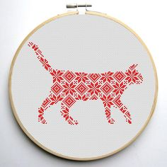 Nordic Ornament Christmas Cat Cross Stitch Pattern | Craftsy