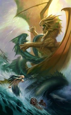 Todd Lockwood - reminds me of Battle of Bonnyblair, Fairgean and humans in the water, sea serpents, dragons...