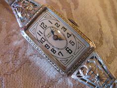 14k White Gold Filigree Vintage Gruen Watch.
