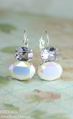 oval crystal earrings | oval earrings | mauve wedding | light purple wedding | www.endorajewellery.etsy.com